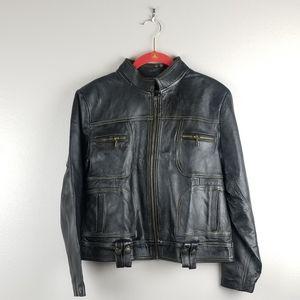New 100% Leather Jacket Dark Brown Size Medium